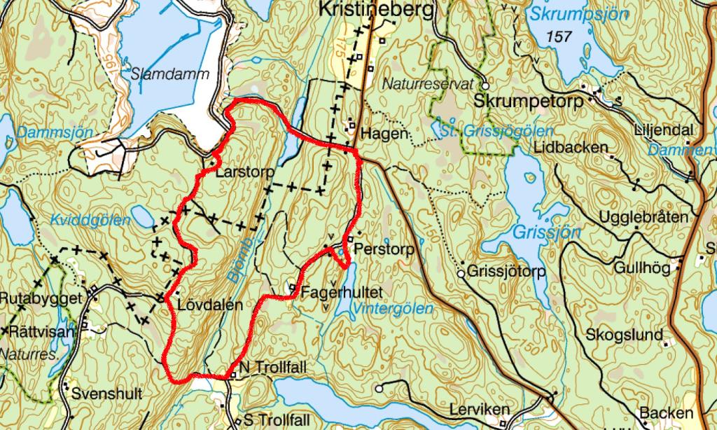 N Trollfall terrangkarta vandringstur