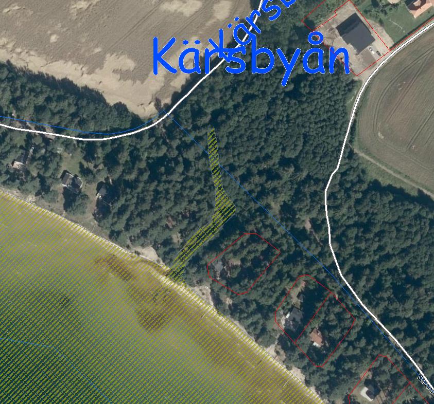 Natura 2000 i Kärsbyån. Det streckade gulgröna området är Natura 2000-område. Den blå linjen markerar detaljplanen och den röda fastigheterna.
